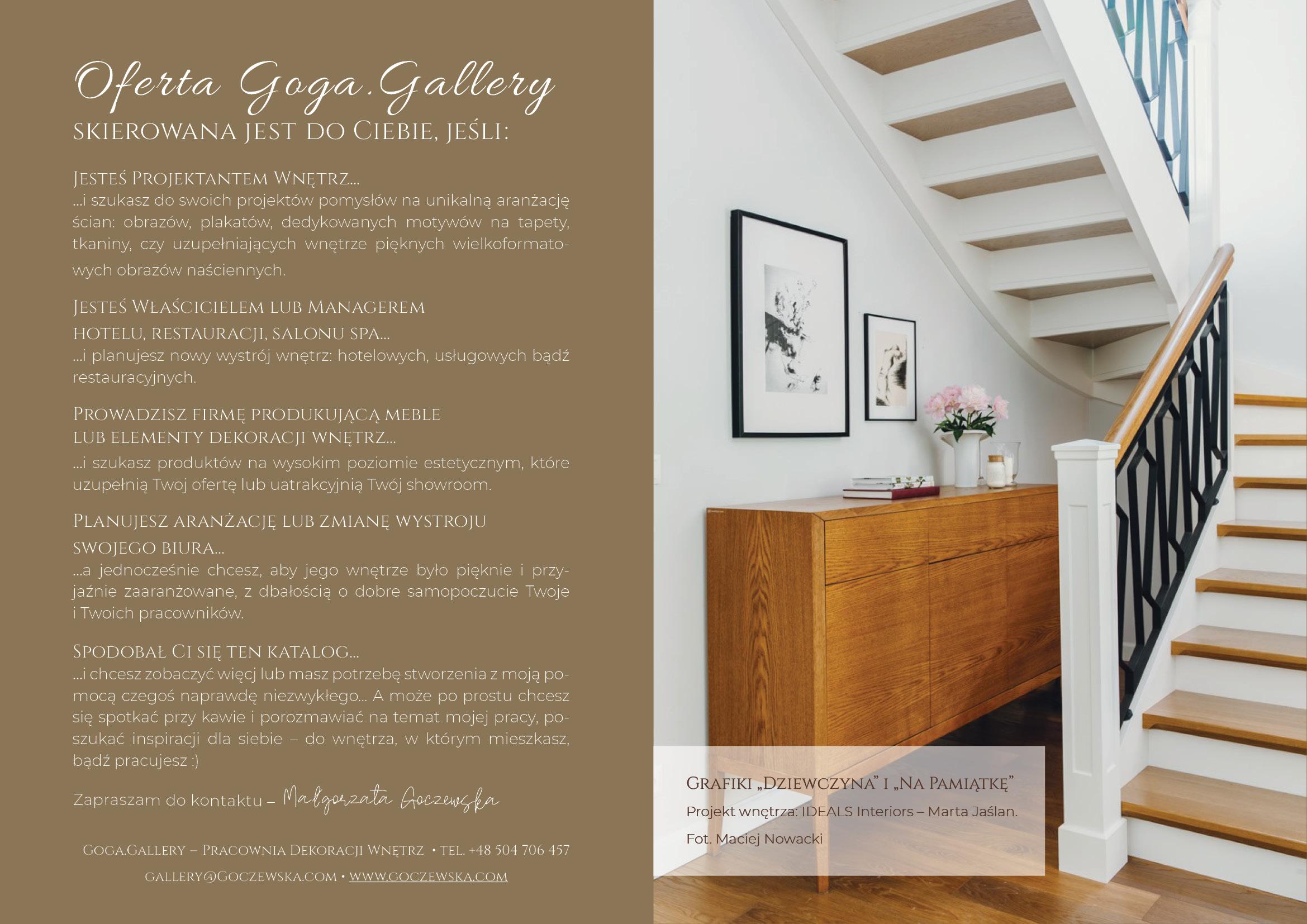 Pracownia Dekoracji Wnętrz Goga.Gallery - oferta, katalog.